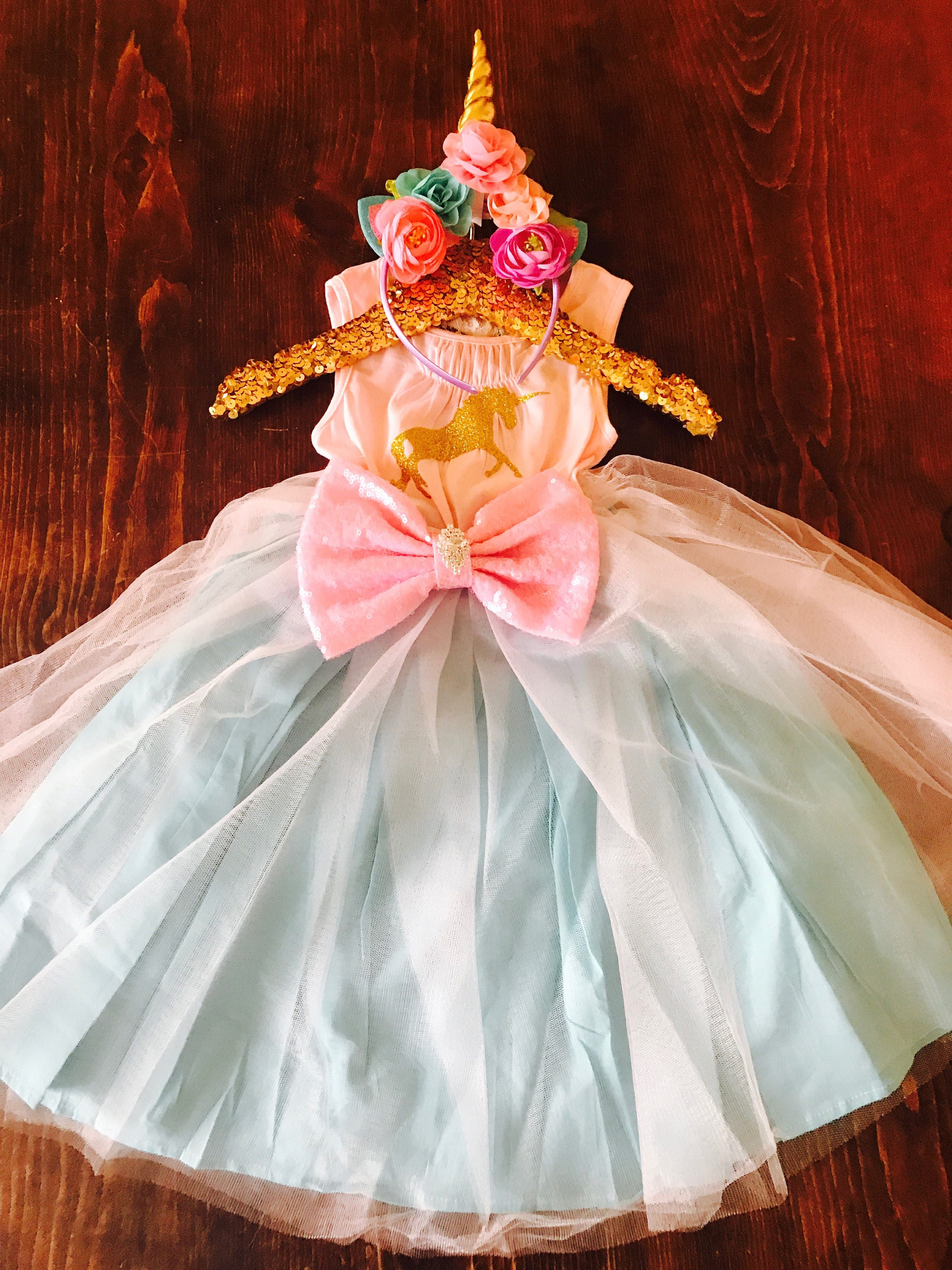 Fancy Girl Unicorn Glitter Tutu Dress First Birthday e