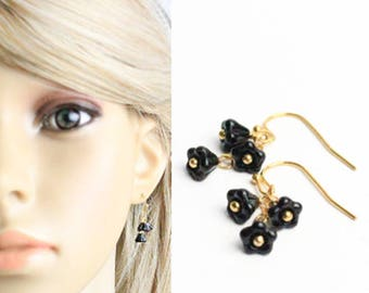 gold black earrings romantic gift/for/her black jewelry gift wife black gift bridesmaids earrings gift flower earrings dangles gift K287