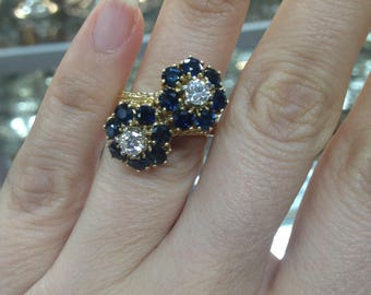 Sapphire and Diamond Ring, Sapphire Ring, Diamond and Sapphire Ring, 18Kt Yellow Gold Ring, Sapphire Ring