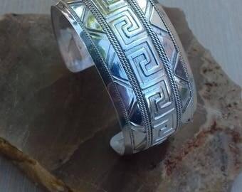 cuff bracelet Greek Meander Bracelet silver 999.Silver Cuff-Wide Silver Bracelet-Wide Sterling Cuff Bracelet - Wide Silver Hammered Bracelet