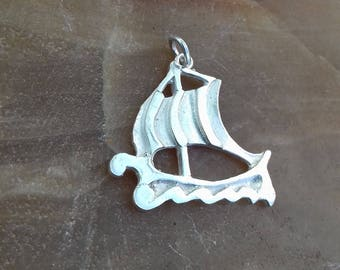 Pendant locketin style Ancient Greek galleys ship silver 925