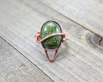 Russian Serpentine Copper Ring Handmade