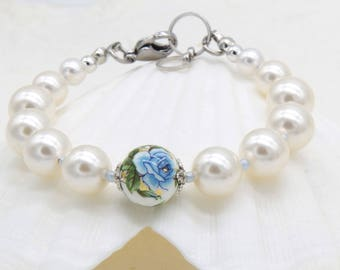 Rose & Pearl Bracelet by Libbis Designs - Swarovski Pearls 10mm