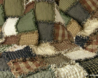 TWIN - Rag Quilts, Rustic, Handmade, Country, Primitives, Western, Custom, Made to Order, Homespun