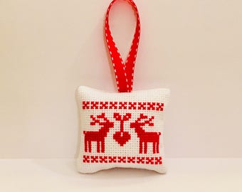 Christmas tree decor, Christmas ornament, pincushion, cross stitch ornament, completed finished cross stitch, personalized gift