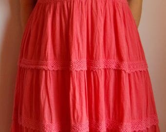 Vintage 80s Women's Dress/Summer Boho Dress/Gypsy Beach Dress/ Pink Cotton Dress/ Midi Summer Dress/On Straps/Lining/Size M-L /Made in India