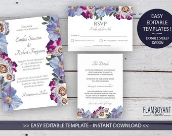 BOUQUET Suite - Printable Wedding Invitation, RSVP & Details Card - Editable Templates - Roses and Anemones - Printable - Instant Download