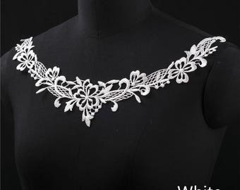 2 PCs White Embroidery Hollow Flower Lace Applique DIY Collar   Appliques Patch   Clothing Accessories, WL571