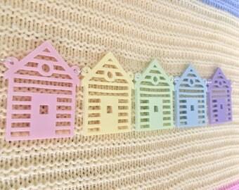 Beach Huts Rainbow Pastel Acrylic Necklace