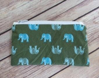 Small Snack Bag- Green Elephants