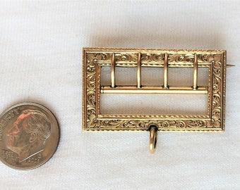 "Estate 14K HEAVY Yellow Gold Buckle Vintage Pendant, Watch Brooch, Pin 1-1/2"" wide 7.2g Victorian Sash Engraved 14 k kt 14kt Antique 18-1900"