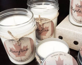 Soy Candles, Bonfire , Canada Collection, 8 oz, 4 oz Tins, Canada 150, Label, Gifts, 4oz Tin Candles, Bridesmaids, Camping