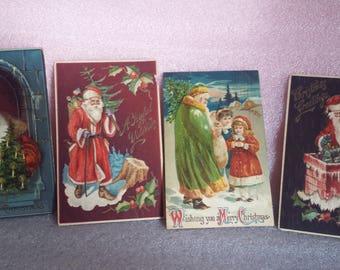 Four vintage, German Christmas postcards