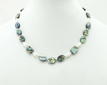 Abalone, Freshwater Pearl, and Sterling Silver Necklace