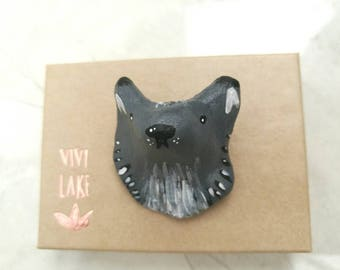 Wolf brooch - wolf badge - animal lover gift - hand painted brooch - quirky gift - wolf pin - grey wolf - hipster gift - woodland animals