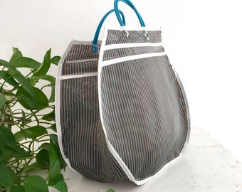 XL tote bag - striped black/white/Colors
