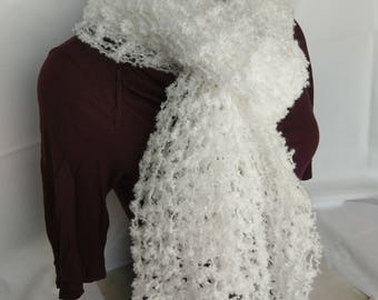White Lacey Soft Hand Knit Boucle Pashmina Scarf or Wedding Wrap
