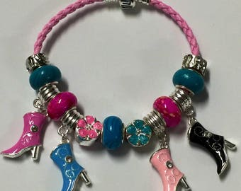 Colorful Cowgirl boots European charm bracelet