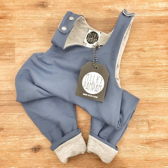 Dusty Blue Heather Grey, dungarees Salopette PAMPAMSUIT-reversible-