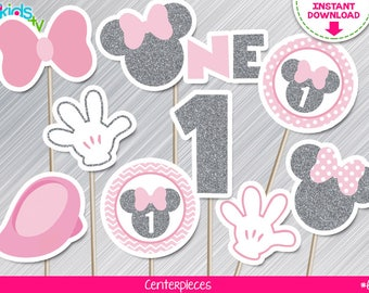 INSTANT DOWNLOAD Pink and Silver Minnie Mouse Centerpieces First Birthday Print yourself, Pink and Silver Minnie Party Printables DIY