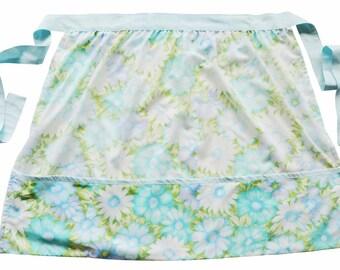 Ombre Blue Floral Print Vintage Fabric Half Apron