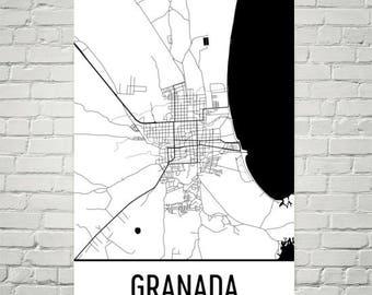 Granada Map, Granada Art, Granada Print, Granada Nicaragua Poster, Granada Wall Art, Granada Gifts, Map of Nicaragua, Nicaraguan Poster