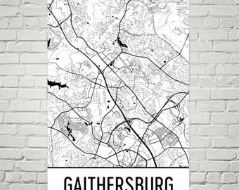 Gaithersburg Map, Gaithersburg Art, Gaithersburg Print, Gaithersburg MD Poster, Maryland Wall Art, Maryland Gifts, Maryland Decor, Art Print