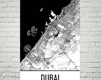 Dubai Map, Dubai Art, Dubai Print, Dubai UAE Poster, Dubai Gifts, Dubai Wall Art, United Arab Emirates Gifts, Map of United Arab Emirates