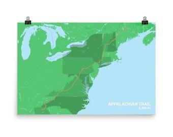 Appalachian Trail Etsy - Appalachian mountains on a us map