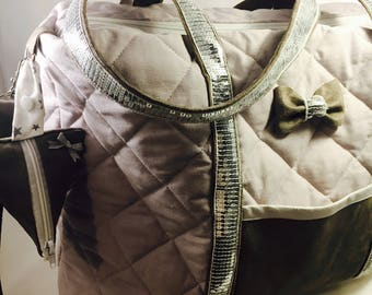 Diaper bag XXL grey quilted cotton and suede with sequins, with changing mat and pacifier holder nomadic integrated.