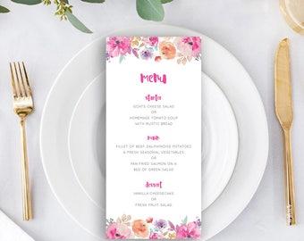 Printable wedding menu/ Editable menu/ Floral/ Watercolour/ PDF/ Download/ Custom/ Hannah #057-05