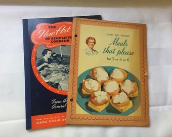 1940s Vintage Cook Books Mary Lee Taylor's Meals that please 1941 and The New Art of Simplified Cooking 1940