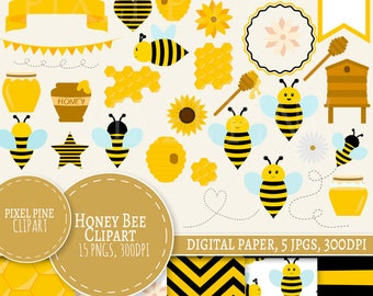 Bee Clipart Set, 32 PNGs, 5 BumbleBee Digital Paper JPGs, Commercial Use, Honey pot clip art, bee clip art, beehive clipart, honey bees png
