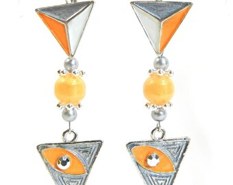 """Earrings """"Debby"""" sleeper silver metal frame, handmade"""