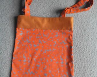 Orange and gray floral Totebag