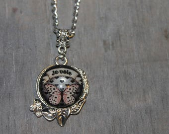 """Necklace and glass cabochon """"I fly"""""""