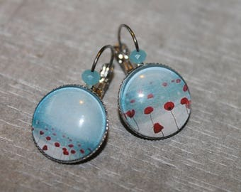 Pretty poppies - Stud Earrings in silver tone metal.