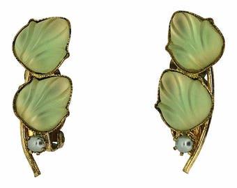 1950s West German Vintage Yellow Glass Earrings