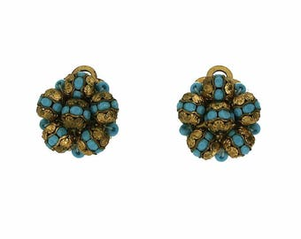 1940s Turquoise and Gilt Metal Bead Vintage Earrings