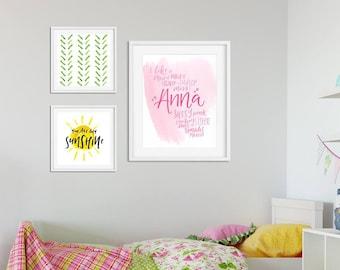 Custom Lettered Name Print