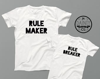 Dad and Baby Matching Shirts ,Rule Maker Rule Breaker, Daddy and Me , Dad Matching T Shirts, Father Son Set, father son matching shirts