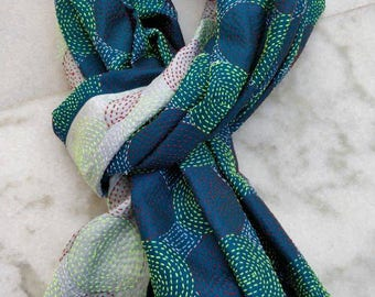Large Size Kantha silk Shawl, Vintage hand embroidered Kantha silk reversible stole, Bohemian beach shawl, Kantha best quality shawl