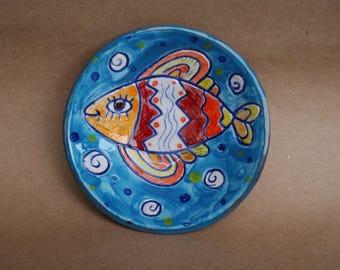 Ceramic plate, Small ceramic dish, A plate of fish, ceramic fish, fish on plate, blue plate, fish décor, naive art, fish, colored fish
