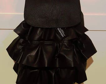 Real Leather backpack with ruffles