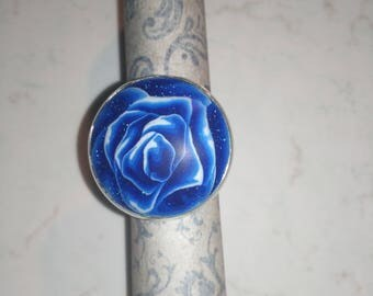 Polymer rose cabochon Adjustable ring