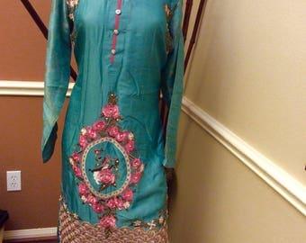 Indian Pakistani Kurti and silver chun duppatta eid sale