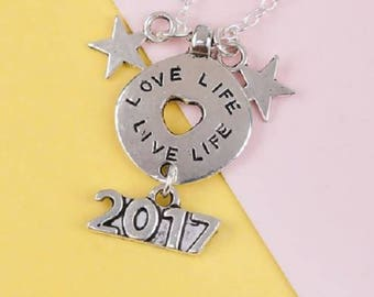 Antique Silver Love Life Follow your Heart Star 2017 Pendant