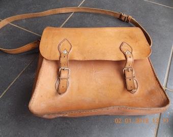 Vintage French leather Satchel Saddle bag School bag Post bag