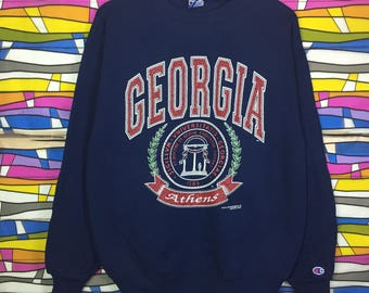 Vintage CHAMPION GEORGIA Sweatshirt Big Logo Spellout Black Colour Large Size