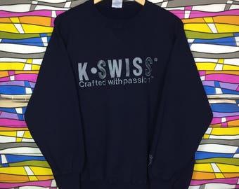 Rare!! K.SWISS Sweatshirt Big Logo Spellout